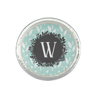 White Feathers and Arrows Pattern with Monogram