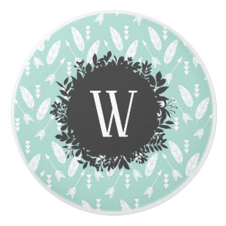 White Feathers and Arrows Pattern with Monogram Ceramic Knob