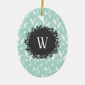 White Feathers and Arrows Pattern with Monogram Ceramic Ornament