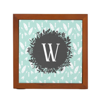 White Feathers and Arrows Pattern with Monogram Desk Organiser