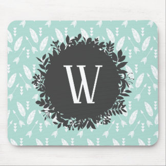 White Feathers and Arrows Pattern with Monogram Mouse Pad