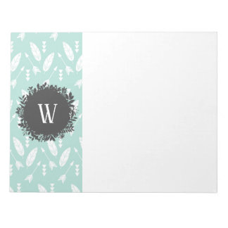 White Feathers and Arrows Pattern with Monogram Notepad