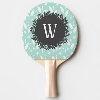 White Feathers and Arrows Pattern with Monogram Ping Pong Paddle