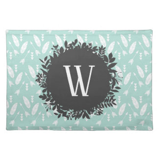 White Feathers and Arrows Pattern with Monogram Placemat
