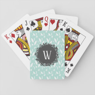 White Feathers and Arrows Pattern with Monogram Playing Cards