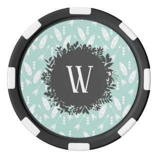White Feathers and Arrows Pattern with Monogram Poker Chips