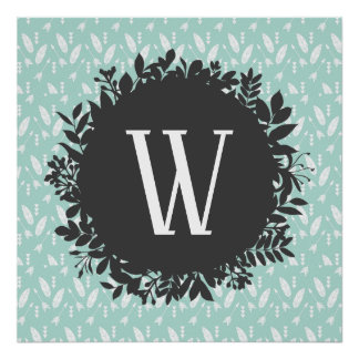 White Feathers and Arrows Pattern with Monogram Poster