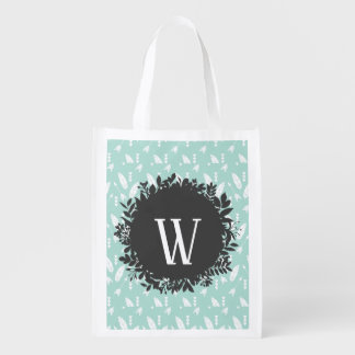 White Feathers and Arrows Pattern with Monogram Reusable Grocery Bag