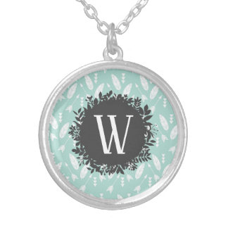 White Feathers and Arrows Pattern with Monogram Silver Plated Necklace