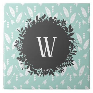 White Feathers and Arrows Pattern with Monogram Tile