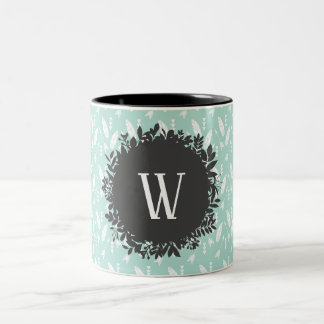 White Feathers and Arrows Pattern with Monogram Two-Tone Coffee Mug