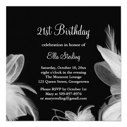 White Feathers Birthday Invitation