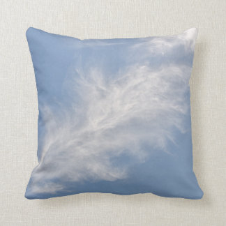 White Feathery Clouds in a Blue Sky Cushion