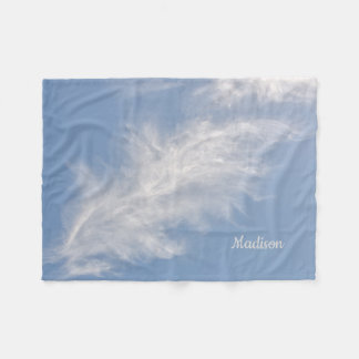 White Feathery Clouds in a Blue Sky Fleece Blanket