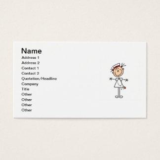 White Female Stick Figure Nurse 2 Business Card