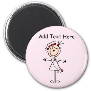 White Female Stick Figure Nurse 2 Gifts Magnet
