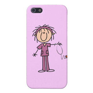 White Female Stick Figure Nurse and Gifts Cases For iPhone 5