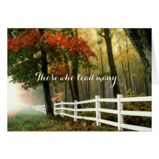 White Fence in Autumn Woods Pastor Appreciation Card