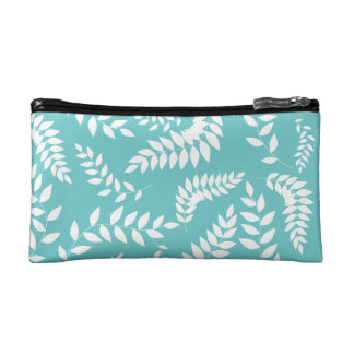 White Ferns Foliage on Teal Pattern Cosmetic Bag
