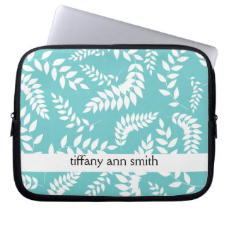 White Ferns Foliage on Teal Pattern Laptop Sleeve