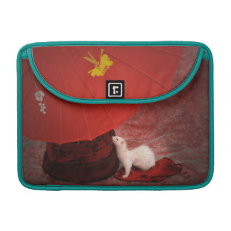 White Ferret MacBook Peacock sleeve - Red Passion