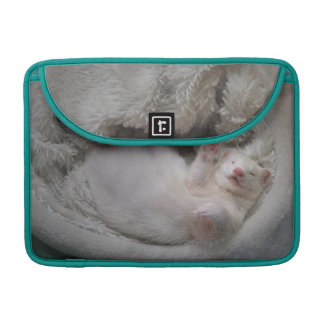 White Ferret MacBook sleeve & blue peacock  color