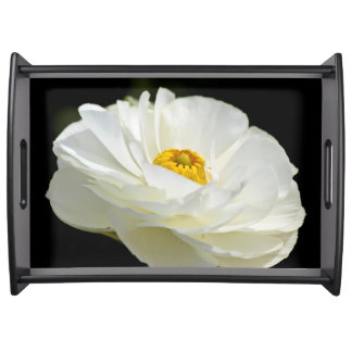 White Field Flower Serving Tray