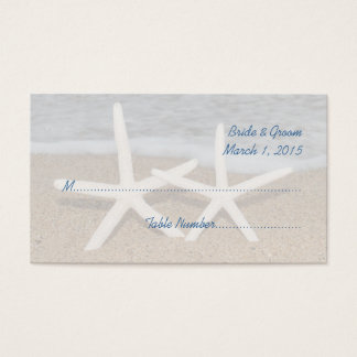 White Finger Starfish Wedding Place Cards