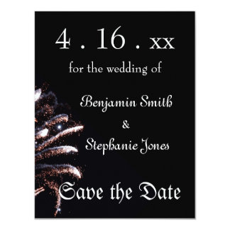 White Fireworks Save the Dates Card