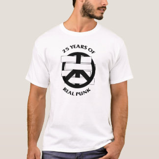 White Flag 2 sided 25 Year Peace Sign White T-Shirt