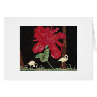 white flamingo and hibiscus card