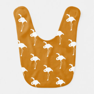 White Flamingo on Burnt Orange Bib