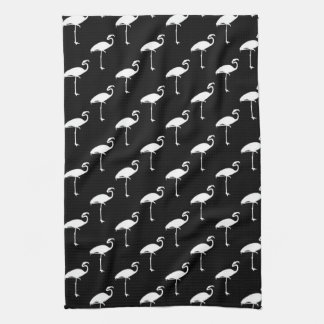 White Flamingo Tropical Flamingos Black Background Tea Towel