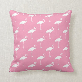 White Flamingo Tropical Flamingos Pink Background Cushion