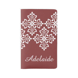 White Fleur De Lis on Americana Red Large Moleskine Notebook