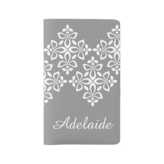 White Fleur De Lis on Dove Grey Large Moleskine Notebook