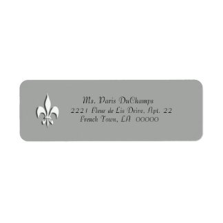 White Fleur de Lis on Gray Return Label Return Address Label