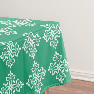 White Fleur De Lis on Green Tablecloth