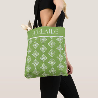 White Fleur De Lis on Spring Greenery Personalized Tote Bag