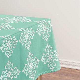 White Fleur De Lis on Winter Sky Blue Tablecloth