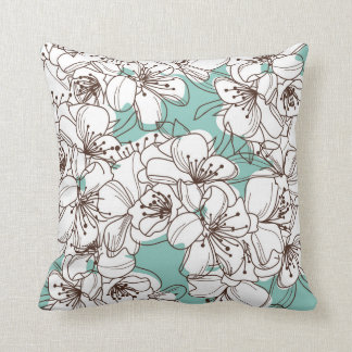 White Flora Bunch Aqua Teal Brown Cushion