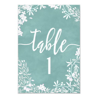 White Floral Any Color Table Number Seating Chart