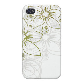 White Floral Art iPhone 4/4S Covers