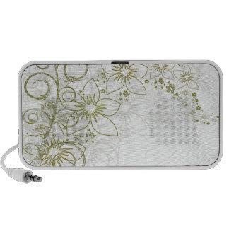 White Floral Art Laptop Speakers