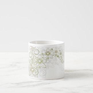 White Floral Art Espresso Cup
