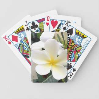 White Floral Bicycle Playing Cards