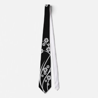 White Floral Black Silky Mens' Neck Tie