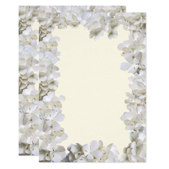 White Floral Border Blank Ecru Wedding Paper Card