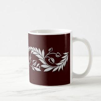 White Floral Border Mug