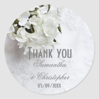 White floral bouquet wedding thank you classic round sticker